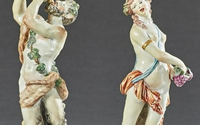 Two Polychromed Capodimonte Style Porcelain Figures