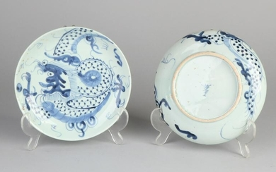 Two antique Chinese porcelain plates with dragon
