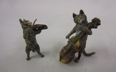Two small Viennese cold painted bronze figures of cats playi...