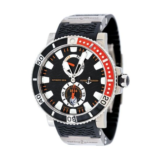"""Ulysse Nardin Marine Diver wristwatch, men, provenance documents, stainless steel; titanium, d=48 mm / Men's Ulysse Nardin Marine Diver wristwatch, reference 263-90, automatic movement. Black """"wave pattern"""" dial with luminescent hour, minute hands and..."""