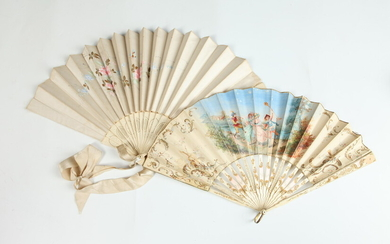 VINTAGE FANS : ONE ANTIQUE PAINTED FAN WITH BUCOLIC SCENE;...