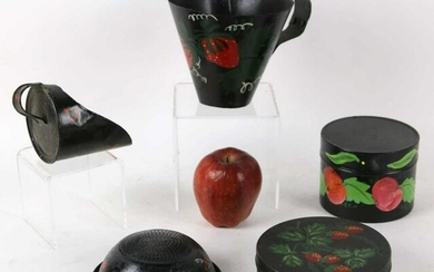 VINTAGE HAND PAINTED APPLE TOLE GROUPING