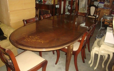 Vintage Extendable Inlaid Marquetry Dining Table with 6 Inla...