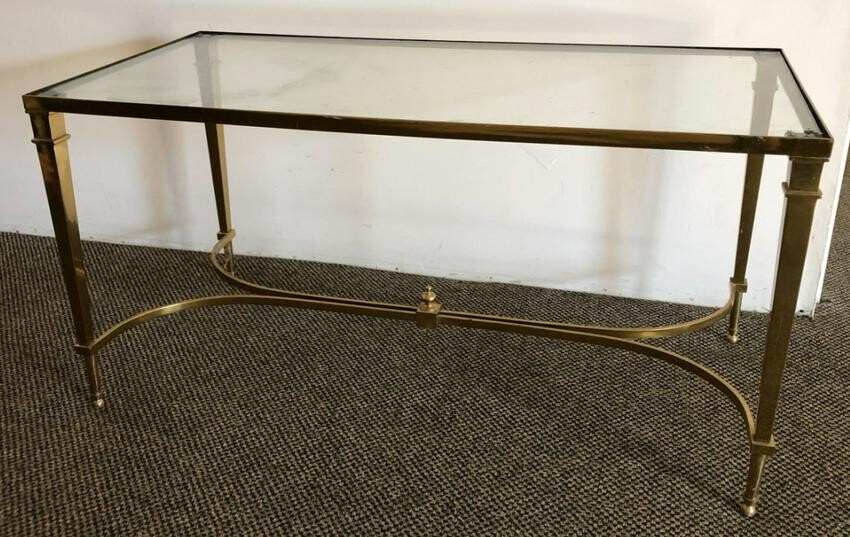 Vintage Jansen Style Brass & Glass Coffee Table