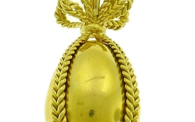 Yellow Gold Egg Charm PENDANT, French 1980s