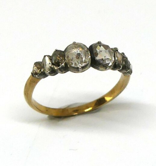 Yellow gold and silver river ring set with rose-cut diamonds. Antique work. Gross weight 3.08 g TDD 62