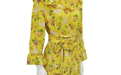 Yves Saint Laurent Yellow Floral & Cupid Silk Jacquard