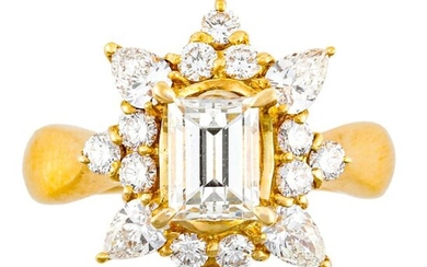 """0.862 CT DIAMOND GOLD RING""ring size : 8.5, 6.4 g, color : J, clarity : VS-1"