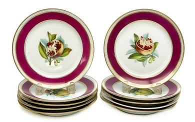 10 French Hand Painted Porcelain Fruit Luncheon Plates