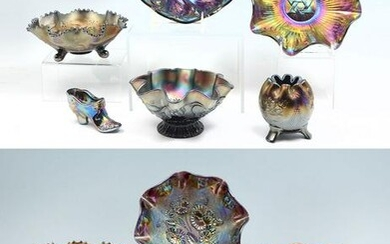13 PC. AMETHYST CARNIVAL GLASS COLLECTION