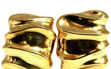 14 Karat Gold Wave Textured Clip Earrings and Omega