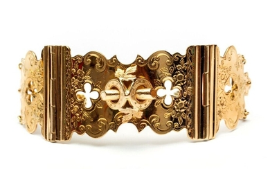 14krt. Gold bracelet, entertained from a book lock,...