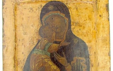17th CENTURY RUSSIAN ICON of VLADIMIR MOTHER OF GOD