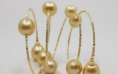 18 kt. Yellow gold - 11x12mm Golden South Sea Pearls