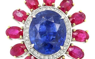 19.12 tcw Sapphire Ruby Natural Diamond Ring in 18K