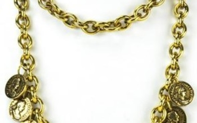 1980s Two Strand Gilt Metal Coin Charm Necklace