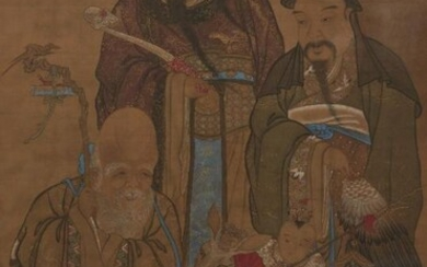 19th century Chinese School, ink and colour...