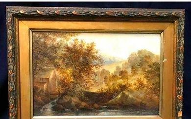 19thc Signed Wales Landscape Oil Painting