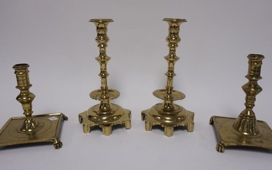 2 PAIRS OF ANTIQUE BRASS CANDLESTICKS