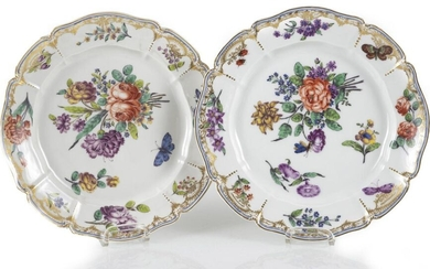 2 PLATES, NYMPHENBURG, CUMBER-. COUNTRY DECORATIONS, FLOWERS/INSERTS. D....