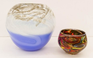 2pc Studio Glass Vase and Bowl. Includes an illegibly