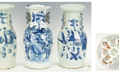 3 Blue and White Porcelain Vases and Chinese Warrior
