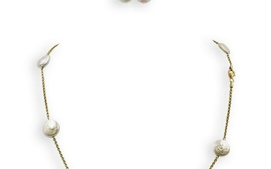 (3 Pc) Yvel 18k Gold and Pearl Jewelry Set