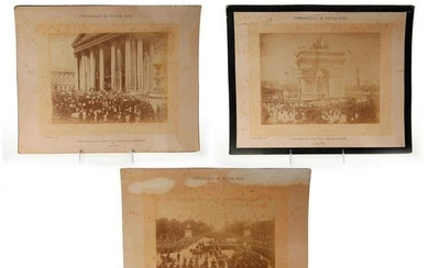 3PC PHOTOGRAPHIC PRINT, THE FUNERAL OF VICTOR HUGO
