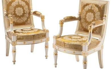 61020: A Pair of Empire Partial Gilt, Painted Wood Upho
