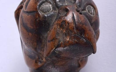 A 19TH CENTURY TREEN PUG DOG HEAD PAGE TURNER probably
