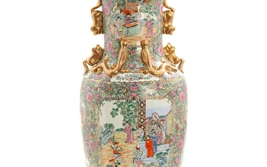 """NOT SOLD. A 20th century Chinese """"green-and-gold"""" porcelain floor vase. H. 79 cm. – Bruun..."""