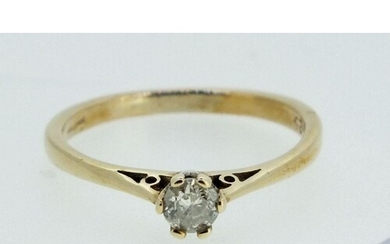 A 9ct gold solitaire diamond ring 1.8g, .25cts, size N-O