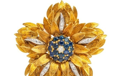 A Bicolor Gold, Sapphire and Diamond Flower