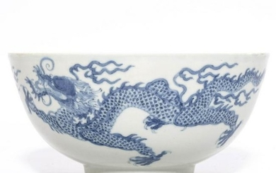 A Blue and White Dragons Bowl