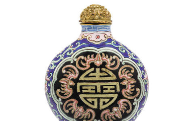 A CANTON ENAMEL 'LONGEVITY AND BLESSINGS' SNUFF BOTTLE