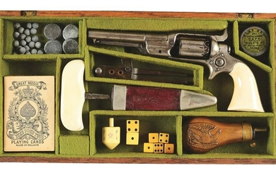 (A) CASED NICKEL COLT ROOT PERCUSSION REVOLVER IN
