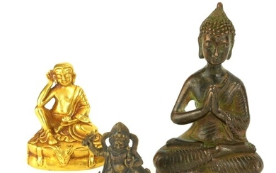 A COLLECTION OF THREE CHINESE MINIATURE BRONZE BUDDHA Compri...