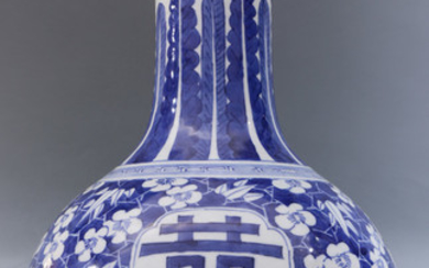 A Chinese Blue and White Bottle Vase