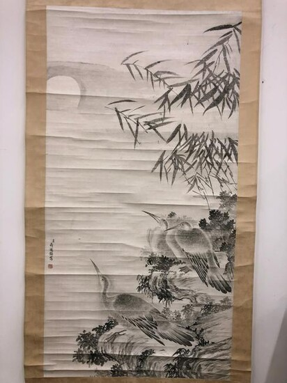 A Chinese Painting of Birds and Bamboos by Jiang Ting