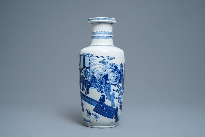 A Chinese blue and white rouleau vase with...
