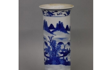 A Chinese blue and white sleeve vase, Qianlong four characte...