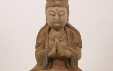 A Chinese carved and painted wood figure of Buddha...