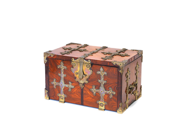 A French brass bound kingwood, rosewood and oyster veneered coffre-fort