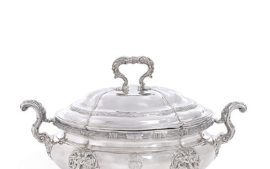 A GEORGE III SILVER SOUP TUREEN AND COVER, MARK OF THOMAS HEMING, LONDON, 1762