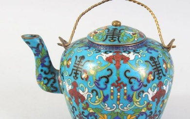 A GOOD SMALL CHINESE CLOISONNE TEA POT, decorated with
