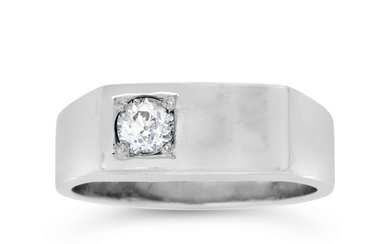 A Gentleman's Diamond and White Gold Ring
