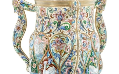 A LARGE AND IMPORTANT SILVER-GILT AND CLOISONNÉ ENAMEL THREE-HANDLED CUP, MARKED P. OVCHINNIKOV WITH IMPERIAL WARRANT, MOSCOW, 1899-1908