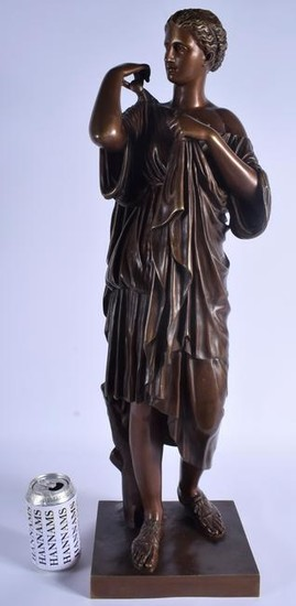 A LARGE ANTIQUE FRENCH BRONZE FIGURE OF A CLASSICAL