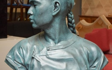 A LARGE BRONZE BUST ON PEDESTAL