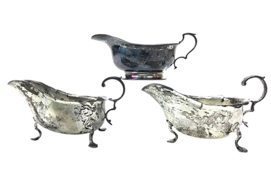 A LOT OF THREE SILVER SAUCE BOATS